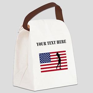 Woman Golfer American Flag Canvas Lunch Bag