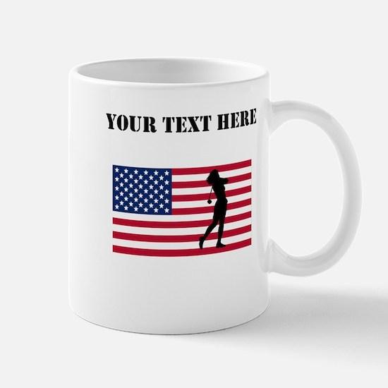 Woman Golfer American Flag Mugs