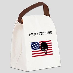 Football Helmet American Flag Canvas Lunch Bag