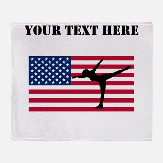 Figure Skater American Flag Throw Blanket