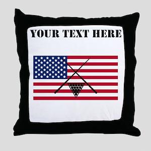 Billiards American Flag Throw Pillow