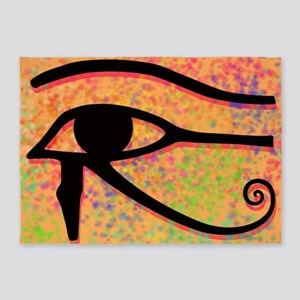 Eye of Horus With Colorful Backgrou 5'x7'Area Rug