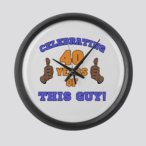 Celebrating 40th Birthday For Men Large Wall Clock