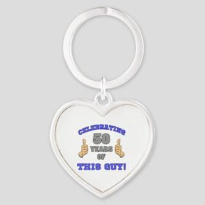 Celebrating 50th Birthday For Men Heart Keychain