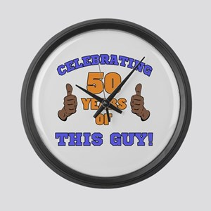 Celebrating 50th Birthday For Men Large Wall Clock