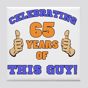 Celebrating 65th Birthday For Men Tile Coaster