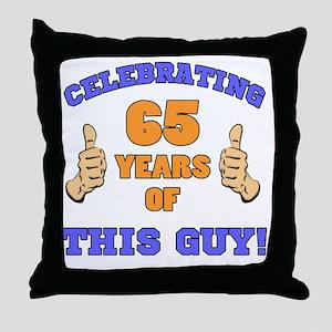 Celebrating 65th Birthday For Men Throw Pillow