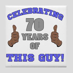 Celebrating 70th Birthday For Men Tile Coaster