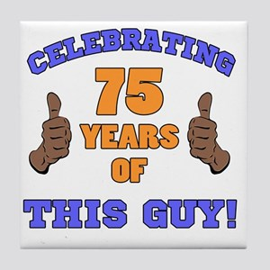 Celebrating 75th Birthday For Men Tile Coaster