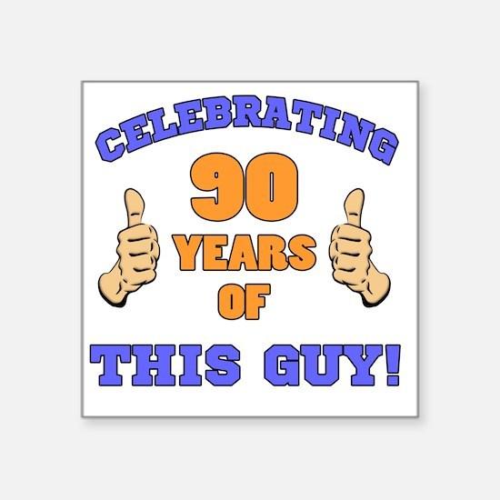"Celebrating 90th Birthday F Square Sticker 3"" x 3"""