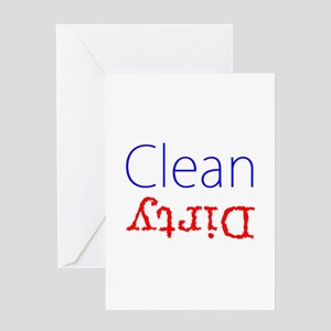 Clean Dirty Dishwasher Red Blue Bec Greeting Cards