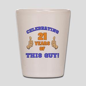 Celebrating 21st Birthday For Men Shot Glass