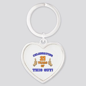 Celebrating 21st Birthday For Men Heart Keychain