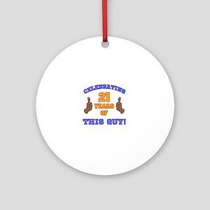 Celebrating 21st Birthday For Men Round Ornament
