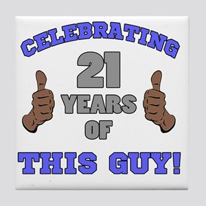 Celebrating 21st Birthday For Men Tile Coaster