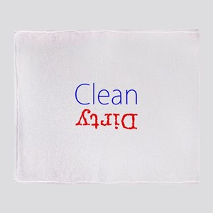 Clean Dirty Dishwasher Red Blue Beck Throw Blanket