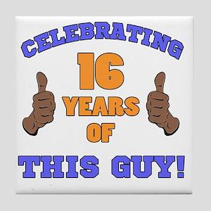Celebrating 16th Birthday For Men Tile Coaster