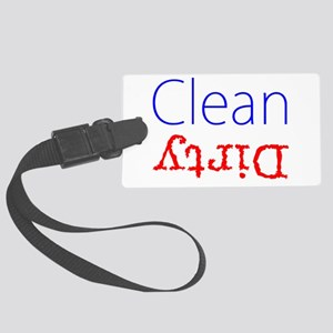 Clean Dirty Dishwasher Red Blue Large Luggage Tag