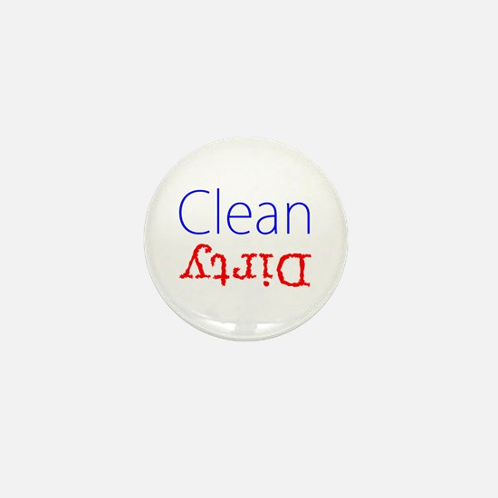 Clean Dirty Dishwasher Red Blue Becky' Mini Button