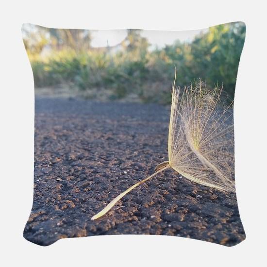Morning Dandelion Seeds Woven Throw Pillow