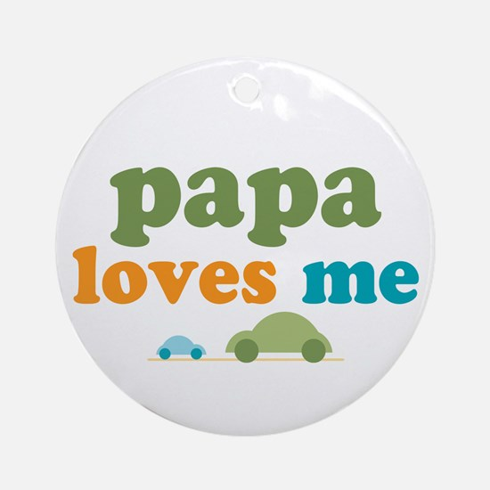 Papa Loves Me Cars Ornament (Round)