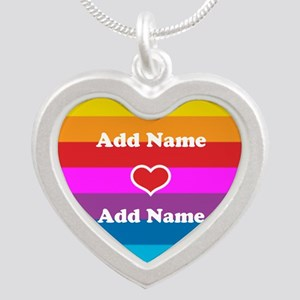Rainbow Love Silver Heart Necklace