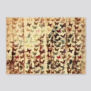 Grunge butterflies on wood 5'x7'Area Rug