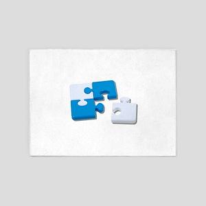 SingledPiecePuzzle101310 5'x7'Area Rug