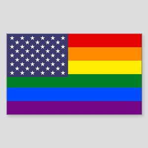Rainbow American Flag Sticker (Rectangle)