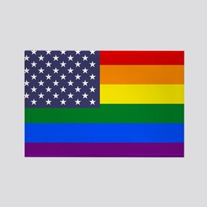 Rainbow American Flag Rectangle Magnet