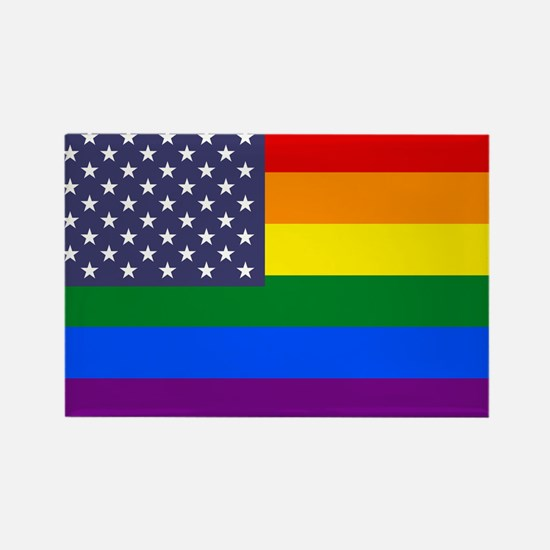 Rainbow American Flag Rectangle Magnet