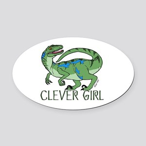 Clever Girl Oval Car Magnet
