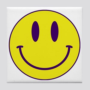 Happy FACE Purple and Gold Tile Coaster