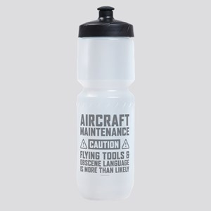 Aircraft Maintenance Caution Sports Bottle