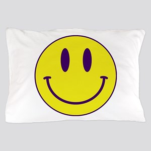Happy FACE Purple and Gold Pillow Case