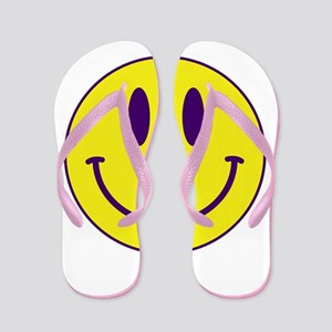 Happy FACE Purple and Gold Flip Flops