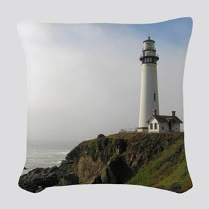 Lighthouse on Cliff Woven Throw Pillow