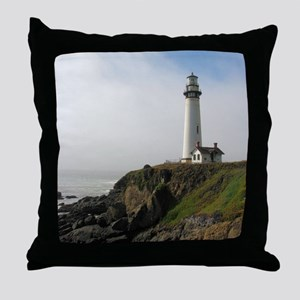 Lighthouse on Cliff Throw Pillow