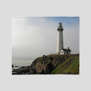 Lighthouse on Cliff Throw Blanket