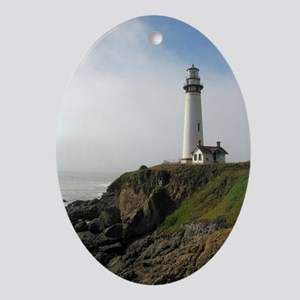 Lighthouse on Cliff Ornament (Oval)