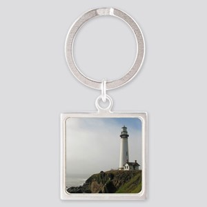 Lighthouse on Cliff Square Keychain