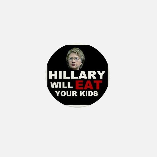 Hillary Eats Kids Mini Button