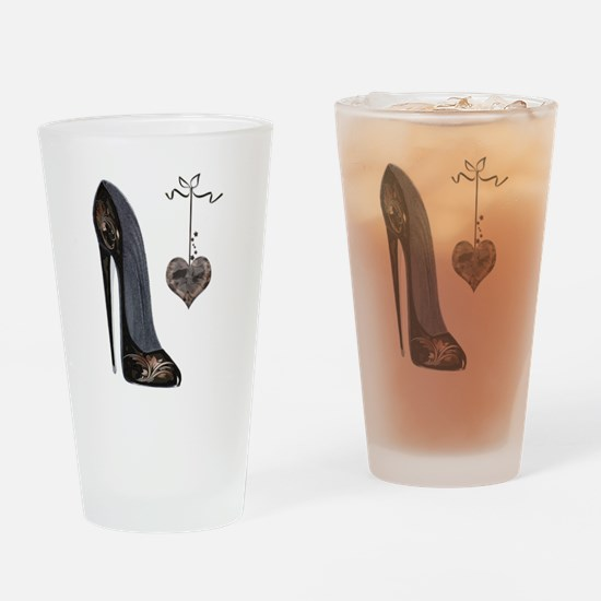 Stiletto and Heart Drinking Glass