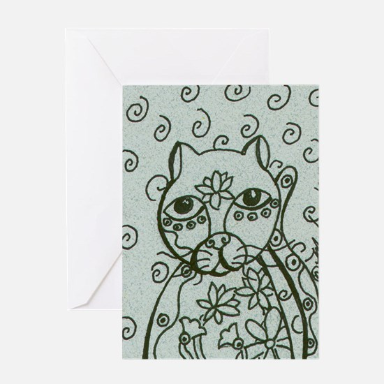 Cat with Lotus Tattoos Greeting Card