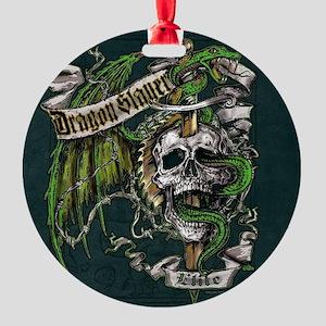 Dragon Slayer Crest Round Ornament