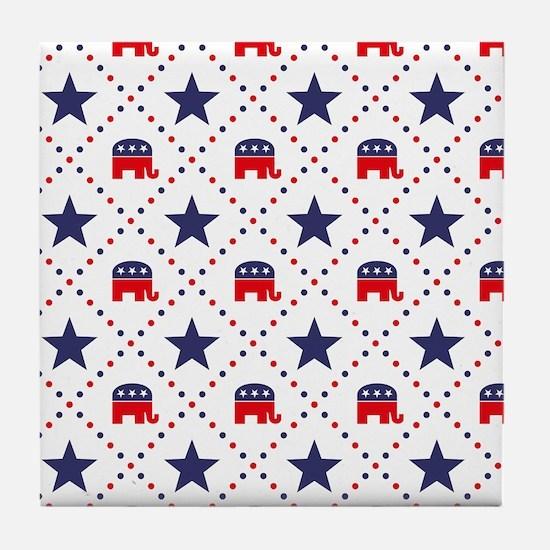Republican Diamond Pattern Tile Coaster