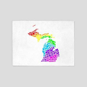 michigan rainbow hearts 5'x7'Area Rug