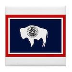 Wyoming State Flag on Tile Coaster