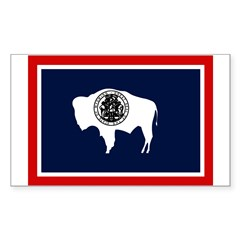 Wyoming State Flag on Rectangle Decal
