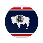 Wyoming State Flag on Ornament (Round)